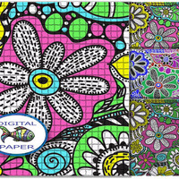 Doodling Zentangle multicolor digital paper Instant download Scrapbook paper set Printable Pack backgrounds yellow green grey blue purple