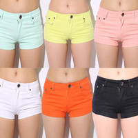 Candy Color Elastic Hot Shorts for Summer