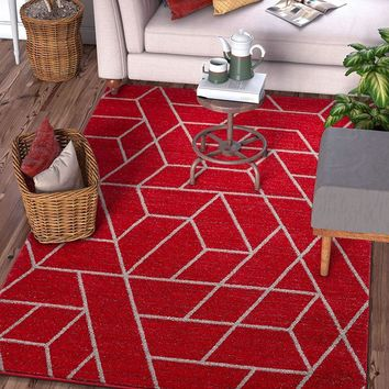 7036 Red Geometric Modern Contemporary Area Rugs