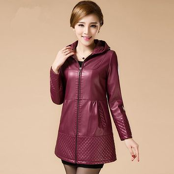 Women Long Leather Jackets Ladies Elegant Hooded Slim Pu Leather Trench Coat Female Outerwear Plus Size 6XL Women Clothing