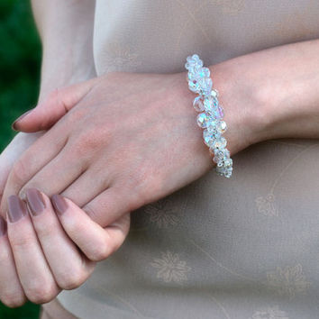 FREE shipping. Women crystal bracelet of seed beads and faceted Czech crystal beads. White sparkling jewelry for women, tender gift for girl