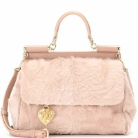Miss Sicily Medium leather and shearling shoulder bag