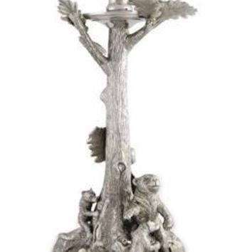 Pewter Bear Mom and Cubs Candlestick