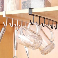 1PC Multifunctional 6 Hook Rack Bathroom Towel Clothes Hanger Kitchen Cup Dish Hanging Organizer Hooks 2 Colors