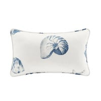 Harbor House Beach House  Cotton Printed Oblong Pillow, Blue