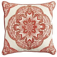 Artisanal Flocked Medallion Pillow - Rust