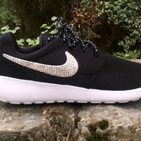 custom nike roshe run sneakers athletic sport shoes womens black/white color blinged with swarovski crystal