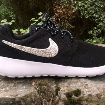 7207e195a5a0 custom nike roshe run sneakers athletic sport shoes womens black white  color blinged with swarovski