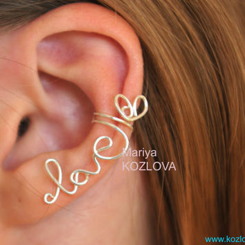 Cartilage ear cuff Tender LOVE   wire writing silver by KOZLOVA