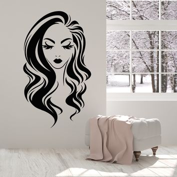 Vinyl Wall Decal Long Hair Girl Face Makeup Eyelashes Lips Stickers (2363ig)