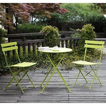Garden Bistro Set Table Chairs Folding Outdoor Patio Furniture Steel Sets