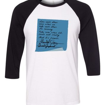 Meredith and Derek Post It Grey's Anatomy Baseball Shirt