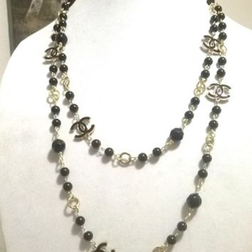 "Designer 60"" Hollywood Glam Crystal, Black Pearl Chain Necklace"