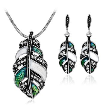 Bohemia Exaggerated Jewelry Set Feather Pendant Necklace Long Earrings Sets For Women Antique Gold-color Wedding Bridal Jewelry