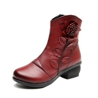 2017 Fashion Winter Women Riding Boots Female Middle Heels Thick Heel Women's Boots New Soft Bottom Genuine Leather Women Shoes