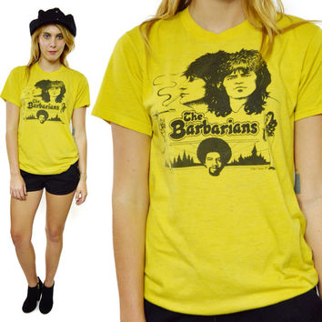 Vintage 70s The New Barbarians Keith Richards Ron Wood Rare 50/50 T Shirt Sz L