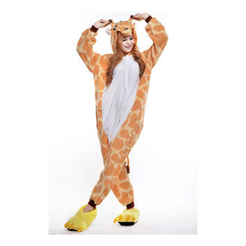 Unisex Adult Pajamas  Cosplay Costume Animal Onesuit Sleepwear Suit giraffe