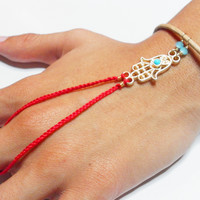 Red hamsa braided friendship bracelet ring handpiece - slave chain gold plated turquoise hamsa charm evil eye blue crystals free people inspired