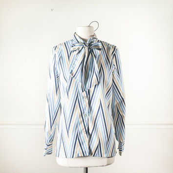 Vintage Chevron Stripe Blouse | 80s blouse Secretary Blouse Kitten Bow Ascot Blouse 80s top Avant Garde New Wave Striped Blouse Button Down