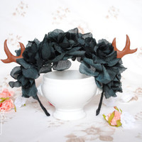 SALE Kawaii Antler Headband Pastel Goth Gothic - black roses flower crown creepy grunge cute headdress headpiece halloween party costume