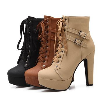 high heels lace up leather double buckle platform Ankle Boots