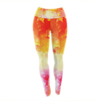 "CarolLynn Tice ""Splash"" Orange Yellow Yoga Leggings"