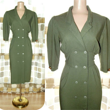 Vintage 80s ARMY Green Military Pin Up Pencil Dress 8 Uniform ROCKABILLY VLV