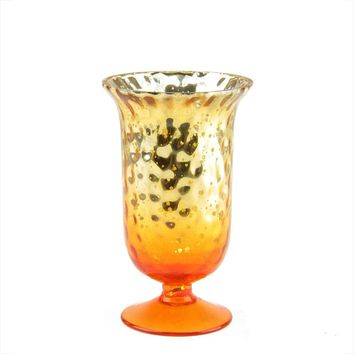 "5.5"" Decorative Amber Orange Ombre and Silver Mercury Glass Votive Candle Holder"