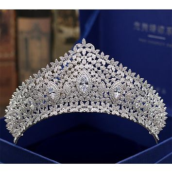 Bridal Tiaras and Crowns Full Cubic Zirconia Silver Color Cosplay Wedding