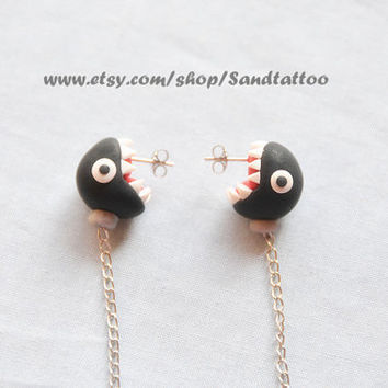 Sale-Nintendo Super Mario Black Ear Biting Chain Chomp Earrings, Chomper Earrings, Easter Gift