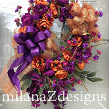 Elegant Fall Halloween Wreath, Purlpe and Orange Floral Grapevine and Deco Mesh Hanging Arrangement, Autumn Wedding Decor
