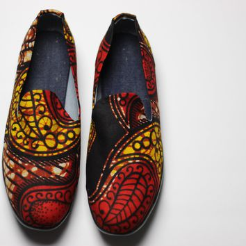 African Print /Ankara Flat Shoes /Loafers(slip ons) - Red,Yellow and Brown Floral Print.