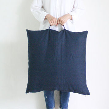Linen Floor Cushion,Navy