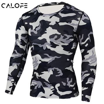 CALOFE Plus Size Running T shirts Camouflage Long Sleeve Compression Shirt Men Slim Quick Dry Elastic Training Sport Shirts Z25