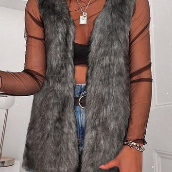 New Dark Grey Faux Fur V-neck Fashion Cardigan Vest