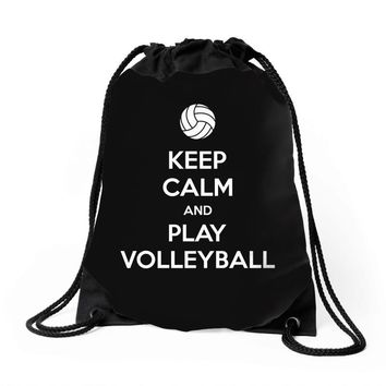 Keep Calm and Play Volleyball Drawstring Bags