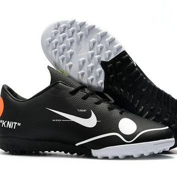 Off White 2018 New Nike MercurialX Vapor XII KNIT TF Mens Soccer Shoes Core Black White Orange
