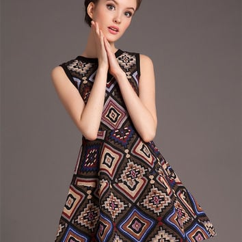Printed Sleeveless A-Line Mini Dress