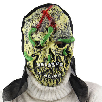 New Halloween Snake Wearing Face Skull Horror Mask Dance Party Props Caps Bar For Party April Fool's Day Cosplay