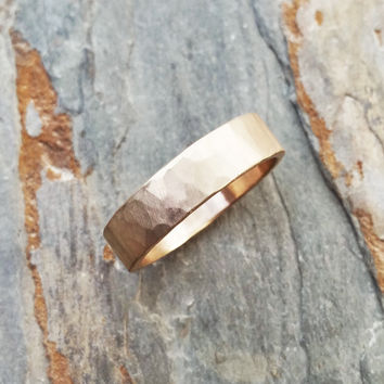 Hammered Gold Wedding Band: 5mm Rustic Gold Ring in Solid 14k Yellow or Rose Gold