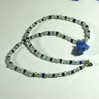 Blue Necklace - Handmade beaded necklace with glass beads and a blue lampwork statement bead focal point