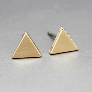Fashion 18K Gold Plating Brief Triangle Square Round studs earrings