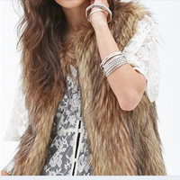 Fashion Womens Faux Fur Waistcoat Gilet Vest Jacket Coat Sleeveless Outwear = 1931805380