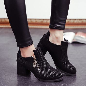 Hot Deal On Sale Shoes Winter Pointed Toe Zippers With Heel Boots [7993619393]