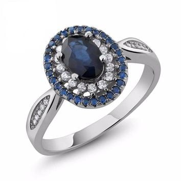 Natural Sapphire, Blue Oval, 1.60 Ct. Sterling Silver, Vintage, Engagement Ring