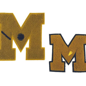 Vintage Varsity Letters / Letterman Jacket Patches / Letter M / Athletic Basketball, Cheerleading / Dark Gold Serif Font / Unique Wall Art