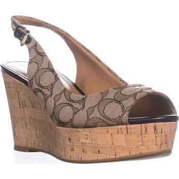 Coach Ferry Peep Toe Slingback Espadrille Wedge Sandals, Khaki/Chestnut, 9.5 US