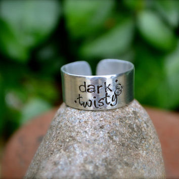 Custom Stamped Adjustable Ring - Dark & Twisty