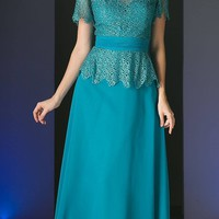 Short Sleeve Lace Overlay Mother of Groom Dress Jade