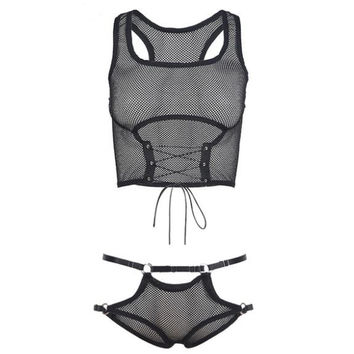 Fishnet Bralette Set